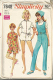 1960s Jumpsuit Three Lengths Head Scarf Simplicity 7648 Bust 34 Women's Vintage Sewing Pattern