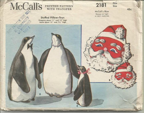 1950s Stuffed Pillows or Stuffed Toys Santa Claus Penguins Cut/Complete with Transfer McCall's 2181 Vintage Sewing Pattern