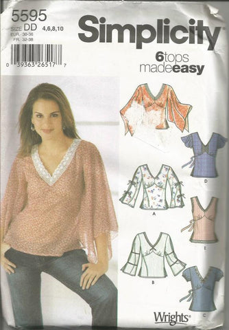 Misses Pullover Tops Six Styles Easy Sewing Pattern Simplicity 5595 Uncut FF Sizes 4, 6, 8, 10 Women's Sewing Pattern