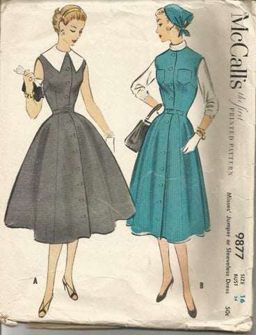 1950s Fit & Flare Sleeveless Dress or Jumper Detachable Collar McCall's 9877 Bust 34 Women's Vintage Sewing Pattern