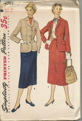 1950s Skirt Suit Fitted Jacket Slim Skirt Simplicity 4563 Uncut FF Bust 34 Women's Vintage Sewing Pattern