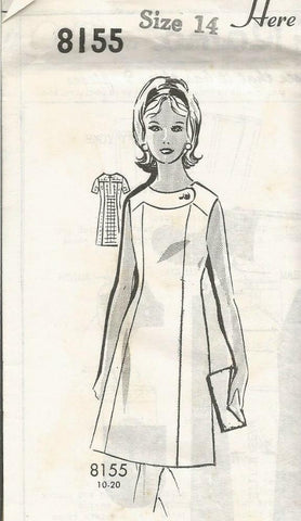 1960s Sleeveless or Short Sleeve Dress Patt O Rama 8155 Unused FF Size 14 Bust 34 Women's Vintage Sewing Pattern