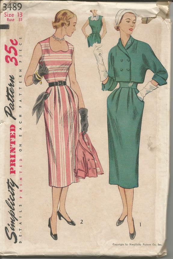 1950s Cocktail Dinner Sleeveless Dress & Bolero Heart Shaped Neckline Simplicity 3489 Uncut FF Women's Vintage Sewing Pattern