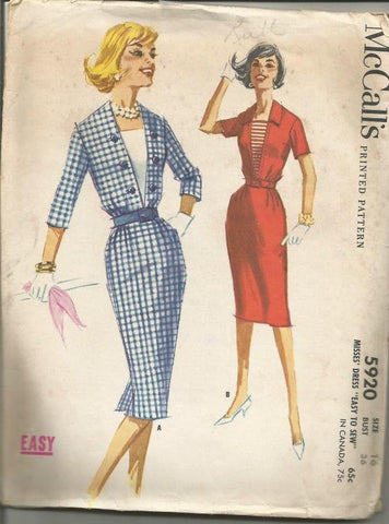 1950s Slim Dress with Inset Sleeve Variations Easy to Sew McCall's 5920 Unused Bust 36 Women's Vintage Sewing Pattern