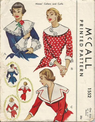 1950s Collars and Cuffs Three Styles One Size McCall 1552