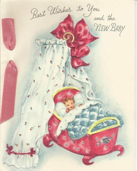 Vintage Best Wishes to You and the New Baby Used No Envelope Inventory 15