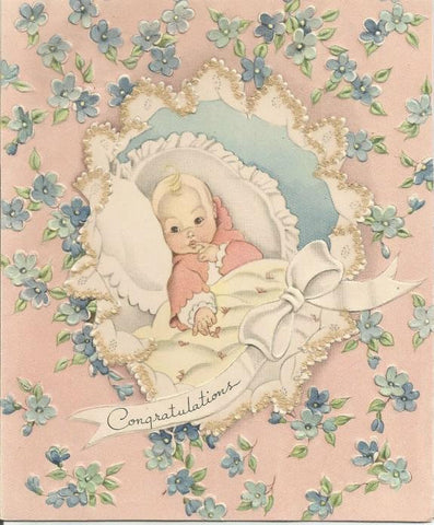 Vintage Congratulations on the New Baby Greeting Card Used No Envelope Inventory 2