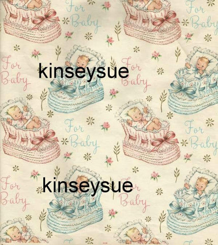 "Vintage Baby Shower Gift Wrap Babies in Pink and Blue Booties Partial Sheet ""For Baby"""