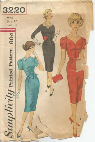 1950s Sheath Cocktail Dress Sweetheart Neckline Short Sleeves Simplicity 3220 Bust 32 Women's Vintage Sewing Pattern