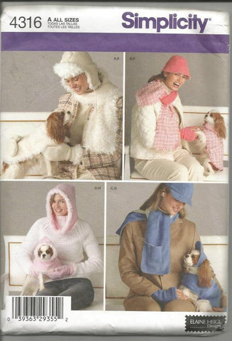Hats Scarves and Matching Dog Clothes Simplicity 4316 Dog Sizes XS - Medium Uncut Factory Folds
