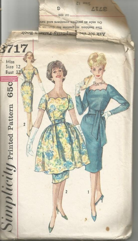 1960s Sheath Cocktail Dinner Dress Overskirt Sleeve Variations Scalloped Neckline Simplicity 3717 Bust 32 Womens Vintage Sewing Pattern