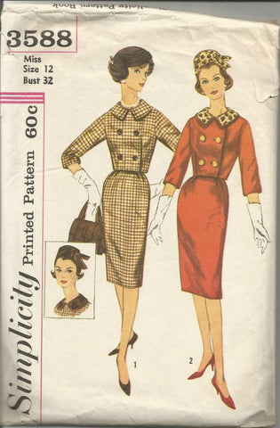 1960s Misses Suit with Hat Slim Skirt Double Breasted 3/4 Length Sleeve Jacket Simplicity 3588 Bust 32 Women's Vintage Sewing Pattern