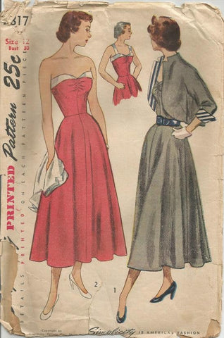 1940s Strapless Sundress/Cocktail Dress & Bolero  Simplicity 2817