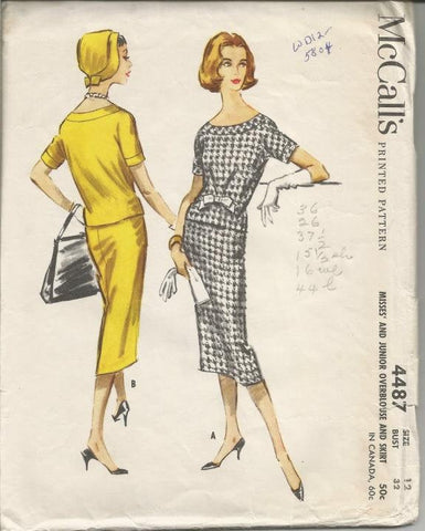1950s Slim Skirt And Short Sleeve Overblouse McCall's 4487 Bust 32 Women's Vintage Sewing Pattern