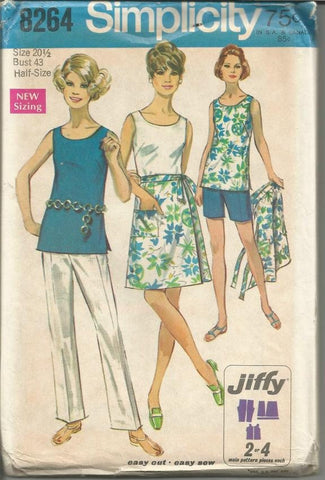 1960s Summer Wardrobe Wrap Skirt Sleeveless Top Shorts or Pants Simplicity 8264 Uncut FF Bust 43 Women's Vintage Sewing Pattern