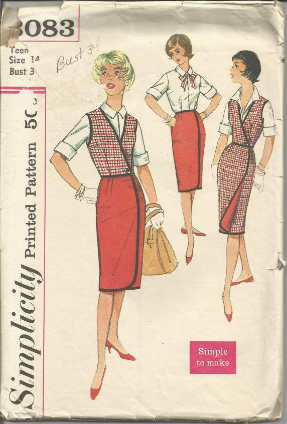 1950s Reversible Wrap Skirt, Weskit, Roll Up Sleeves Blouse Simple to Make Simplicity 3083 Bust 34 Women's Vintage Sewing Pattern