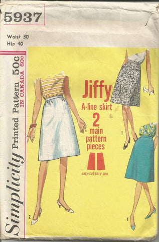 1960s A Line Skirt Easy to Sew A Jiffy Pattern Simplicity 5937 Waist 30 Women's Vintage Sewing Pattern