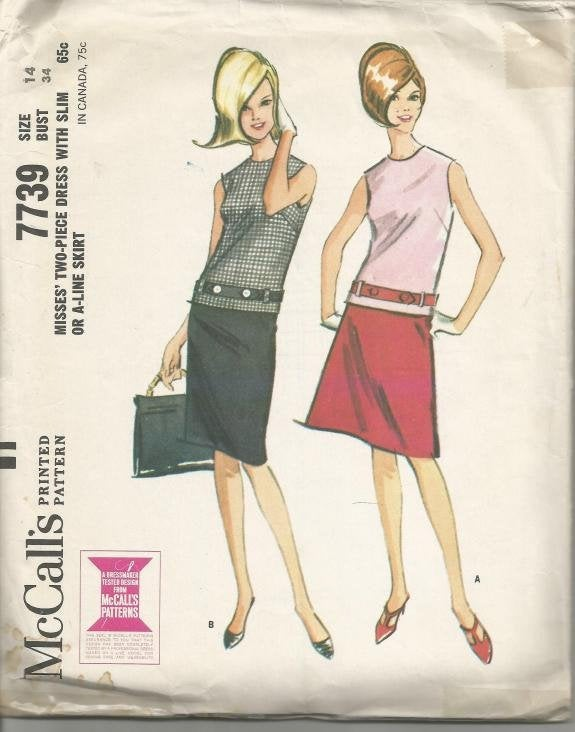 1960s Drop Waist Sheath Sleeveless Two Piece Dress McCall's 7739 Bust 34 Women's Vintage Sewing Pattern