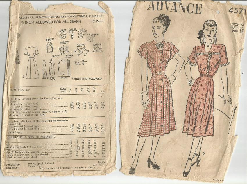 1940s Button Front Dress Neckline and Sleeve Variations Advance 4571 Bust 32 Women's Vintage Sewing Pattern - Kinseysue's Shop
