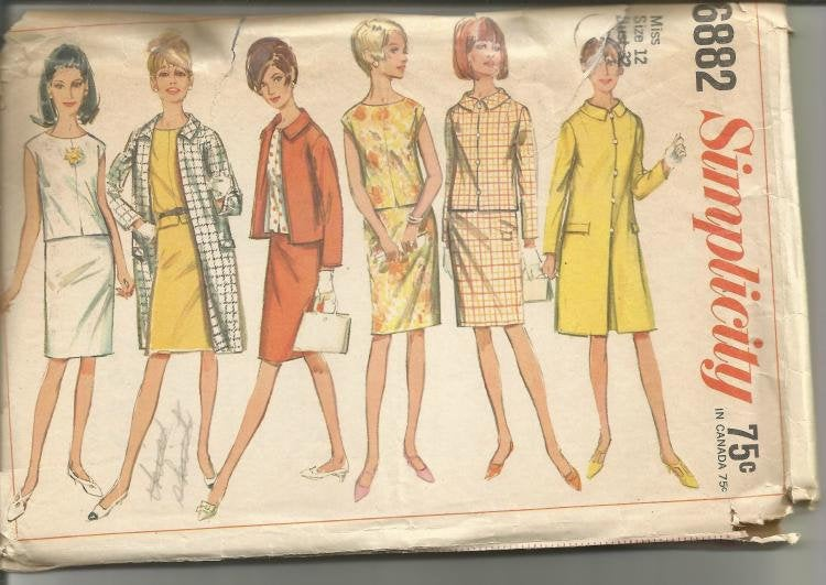 1960s Coat Jacket Blouse Skirt Office Career Wardrobe Simplicity 6882 Bust 32 Women's Vintage Sewing Pattern