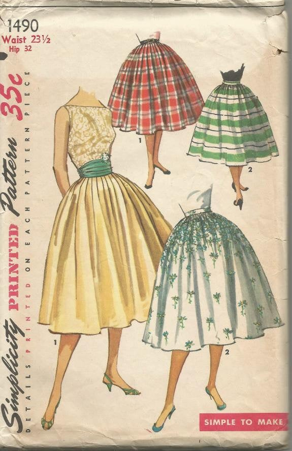 1960s Full Skirt & Cummerbund Rockabilly Dance Skirt Easy Sewing Pattern Simplicity 1490 Uncut FF Women's Vintage Sewing Pattern
