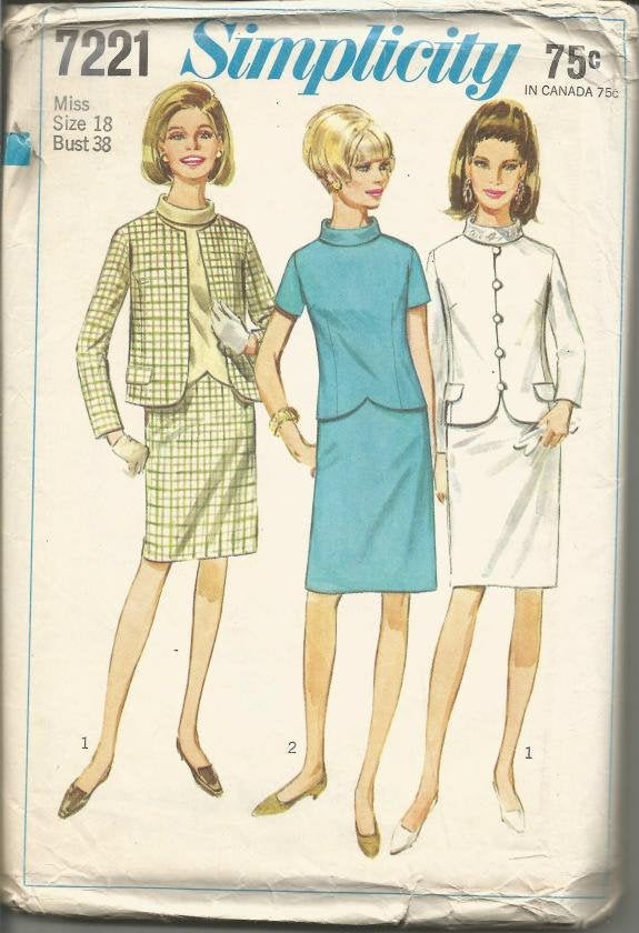 1960s Slim Skirt Suit and Overblouse Office Career Simplicity 7221 Uncut FF Bust 38 Women's Vintage Sewing Pattern