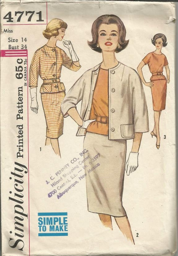 1960s Skirt Short Sleeve Blouse Lined Jacket Easy to Sew Simplicity 4771 Size 14 Bust 34 Women's Vintage Sewing Pattern