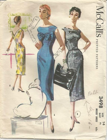 1950s Sheath Cocktail Dress V Back Sleeveless Dart Fitted McCall's 3498 Bust 32 Women's Vintage Sewing Pattern