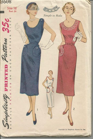 1950s Sheath Sundress Sleeveless Patch Pockets Transfer Included Simplicity 3608 Uncut FF Bust 34 Women's Vintage Sewing Pattern