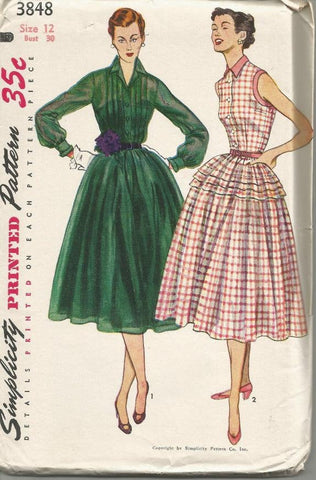 1950s Rockabilly Fit and Flare Full Skirt Sleeveless or Long Sleeve Simplicity 3848 Uncut FF Women's Vintage Sewing Pattern