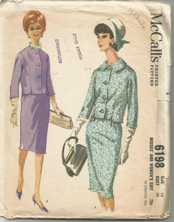 1960s Suit Lined Fitted Jacket Slim Skirt McCall's 6198 Bust 38 Women's Vintage Sewing Pattern