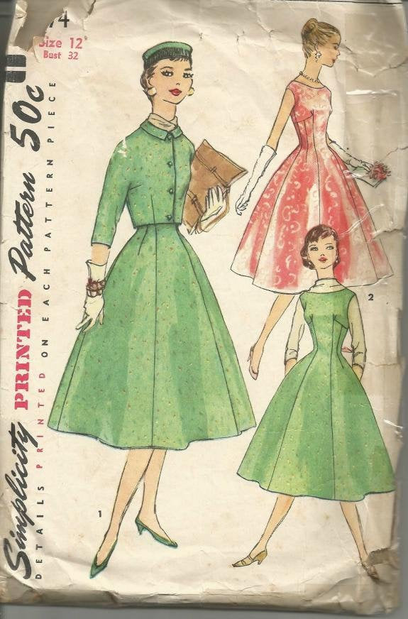 1950s Cocktail Party Dance Fit and Flare Princess Seams Sleeveless Simplicity 1674 Bust 32 Women's Vintage Sewing Pattern