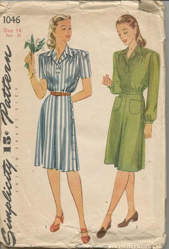 1940s Short or Long Sleeve Dress V Neckline Simplicity 1046 Bust 32 Women's Vintage Sewing Pattern