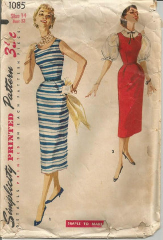 1950s Sleeveless Cocktail Sheath Dress or Jumper & Blouse Simple to Make Simplicity 1085 Bust 32 Women's Vintage Sewing Pattern