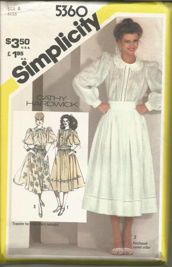 1980s Long or Short Sleeve Blouse and Full Skirt Cathy Hardwick Simplicity 5360 Uncut FF Bust 31.5 Women's Vintage Sewing Pattern