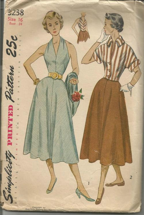 1950s Halter Top Sundress and Fitted Jacket Easy to Sew Rat Rod Rockabilly Simplicity 3238 Bust 34 Womens Vintage Sewing Pattern