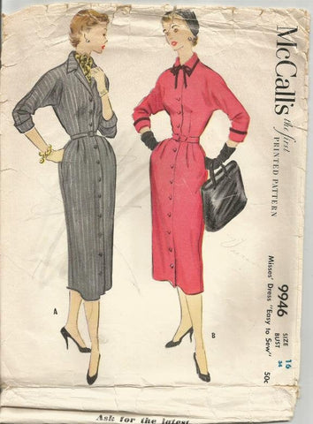 1950s Sheath Slim Easy to Sew Dress Kimono Sleeves 3/4 Sleeves Princess Seams McCall's 9946 Bust 34 Women's Vintage Sewing Pattern