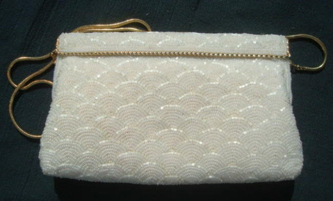 Vintage White Beaded Convertible Purse Evening Purse by Walborg Wedding Purse Bridal Purse Made in Hong Kong