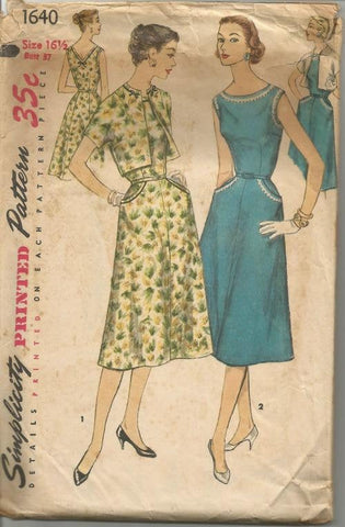 1950s Sundress and Bolero V Back Neckline Dart Fitted Simplicity 1640 Half Size Bust 37 Women's Vintage Sewing Pattern