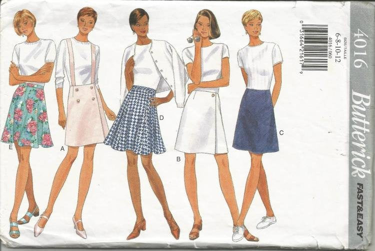 1990s  Women's Skirt Five Styles Above Knee Length Easy to Sew Butterick 4016 Uncut FF Size 6 - 12 Waist 23 - 26.5