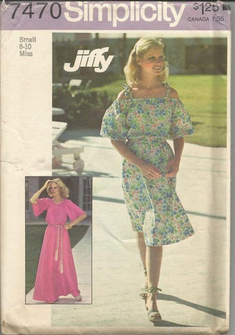 1970s BoHo Chic Day or Evening Length Off Shoulder Dress Simplicity 7470 Uncut FF Bust 31-32 Women's Vintage Sewing Pattern