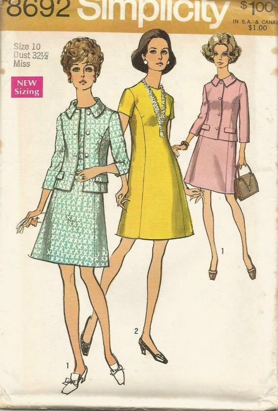 1970s Princess Seam Dress and Lined Jacket Simplicity 8692 Uncut FF Bust 32.5 Women's Vintage Sewing Pattern