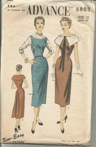 1950s Sleeveless Dress or Jumper Easy to Sew Detachable Collar  Advance 6803 Women's Vintage Sewing Pattern