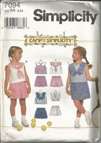 1990s Girls' Summer Wardrobe Shorts Tops with Collar Variations Simplicity 7094 UNCUT FF Size 2,3,4 Girls Sewing Pattern