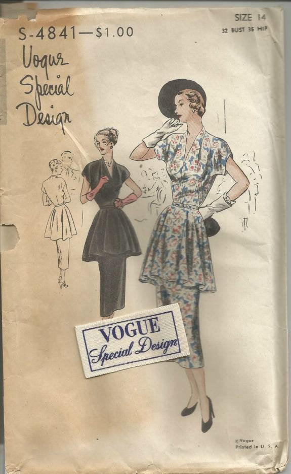 1940s Two Piece Dress Tunic Slim Skirt Cocktail Dinner Theater Vogue S-4841 FF Unused with Label Bust 32 Women's Vintage Sewing Pattern