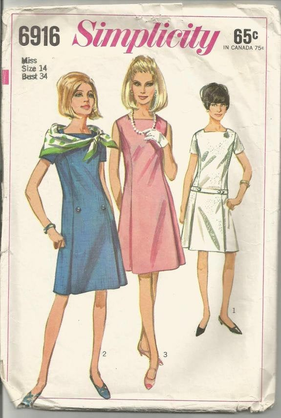 1960s A-Line Sleeveless or Short Sleeve Dropped Waist Dress Simplicity 6916 Bust 34 Women's Vintage Sewing Pattern