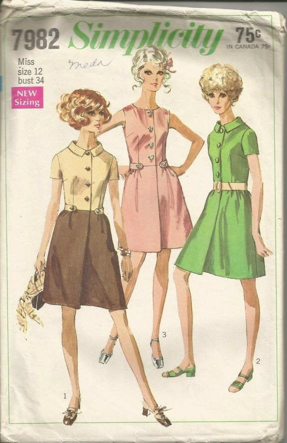 1960s Sleeveless or Short Sleeve Dress Front Buttoning Simplicity 7982 Bust 34 Women's Vintage Sewing Pattern