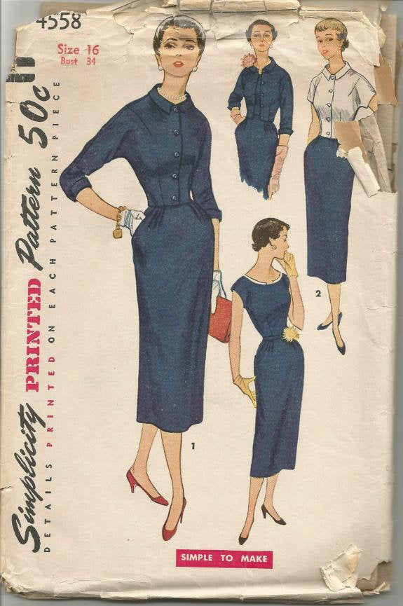 1950s Cocktail Sheath and Jacket Simple to Make Simplicity 4558 Bust 34 Women's Vintage Sewing Pattern