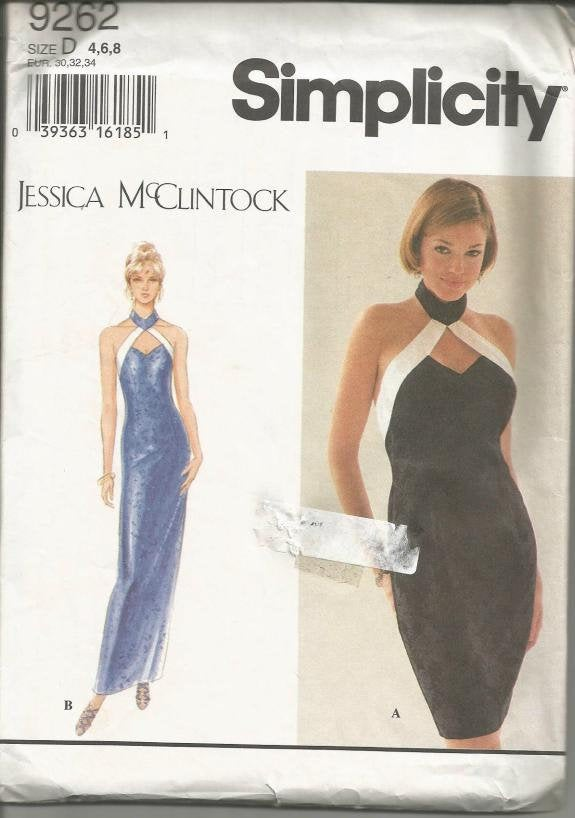 Women's Evening or Cocktail Dress Backless Simplicity 9262 UNCUT FF Sizes 4-6-8 Bust 29.5 - 31.5 Women's Sewing Pattern