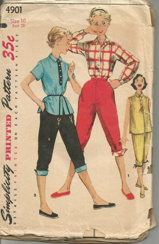 1950s Pedal Pushers Shirt with Sleeve Variations Teen Tween Simplicity 4901 Vintage Sewing Pattern